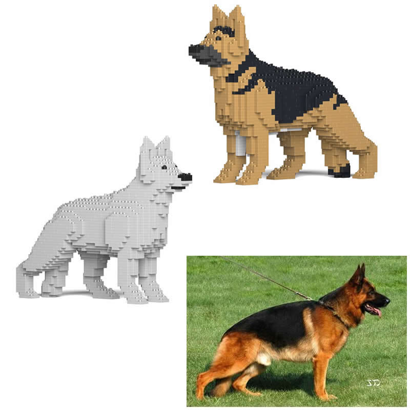Us 1 11 Jekca German Shepherd Dog Small Particles Pet Animal Blocks Brick Model Toys And Gift Fashion Home Ornaments Children 49cm In Blocks From