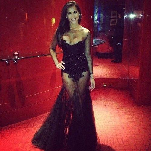 Long sleeve sheer black lace dress