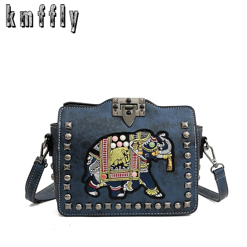 KMFFLY 2018 Rivet Women Top-handle Bags Elephant embroidery pattern Handbags  Women Bags Designer Casual 072a7fbec9359