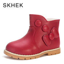 цены SKHEK 2018 Spring Autumn Fashion Warm Children Boots Big Butterfly Knot Leather Shoes Girls Ankle Boots Kids Princess Shoes