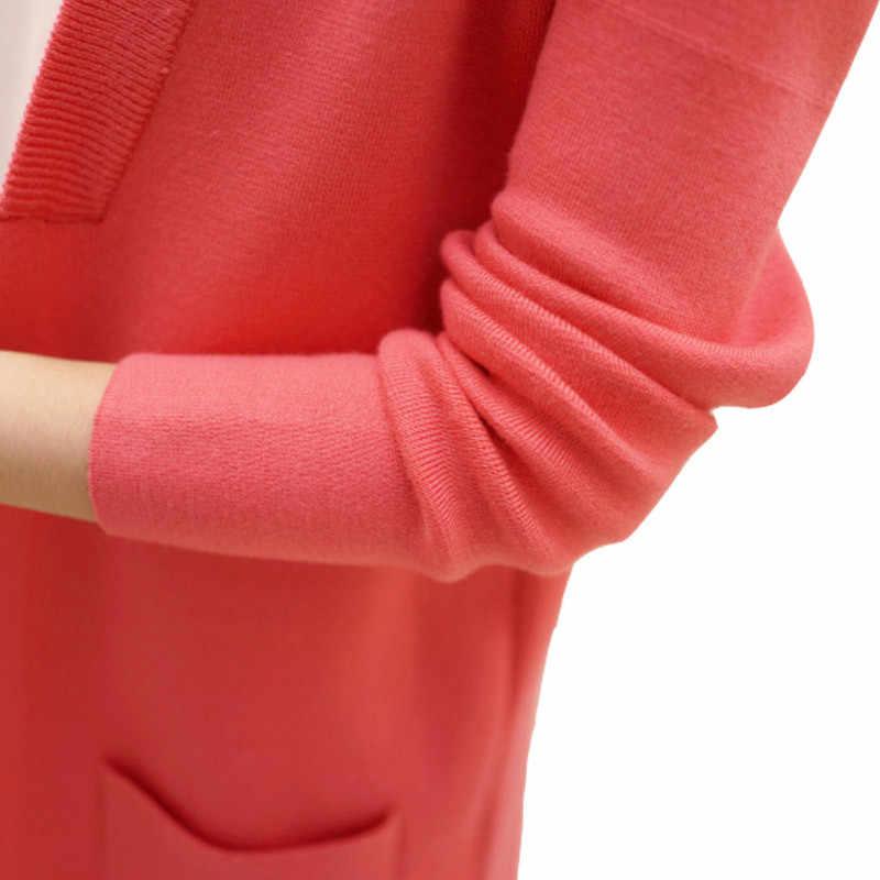 여성 스웨터 가을 겨울 2019 당겨 점퍼 캐주얼 따뜻한 카디건 스웨터 여성 포켓 느슨한 니트 스웨터 아웃웨어 코트 l61
