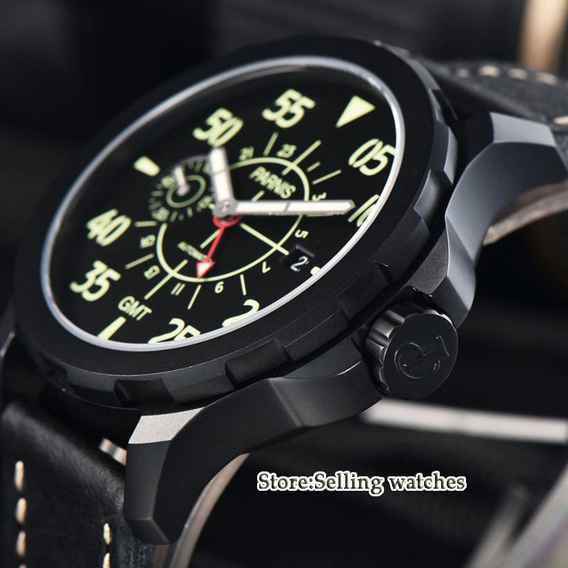 44mm Parnis Black Dial PVD Steel Case red Adjustable GMT needle Leather Automatic Mens Watch44mm Parnis Black Dial PVD Steel Case red Adjustable GMT needle Leather Automatic Mens Watch