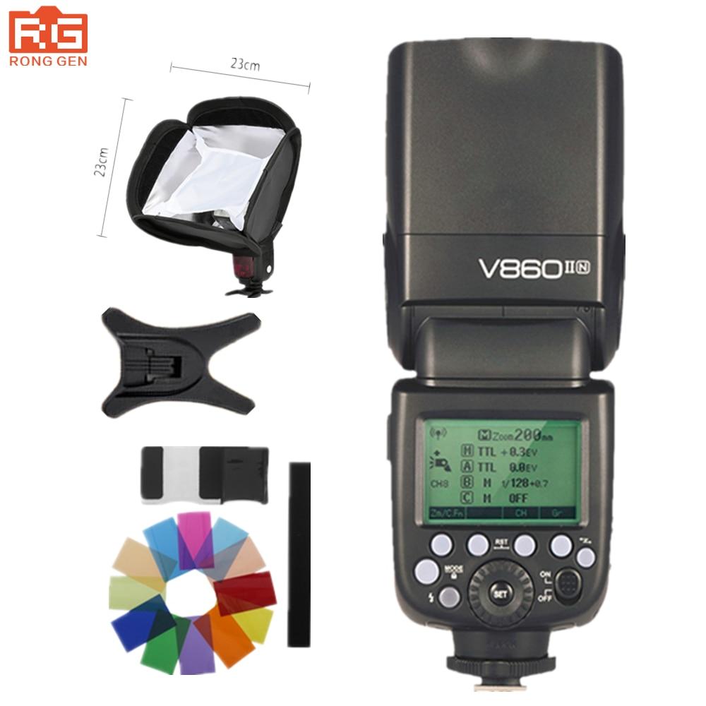 Godox Ving V860II V860II-N GN60 E-TTL HSS 1/8000 Li-ion Battery Speedlite Flash for Nikon DSLR godox v860ii n v860iin gn60 i ttl hss 1 8000s speedlite flash w li ion battery x1t n flash transmitter optional for nikon