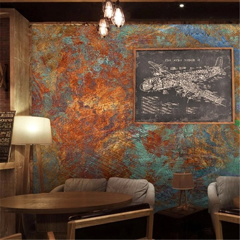 Custom Retro Brick Wall Rust Graffiti Mural Wallpaper Restaurant Personalized Wallpaper Mural