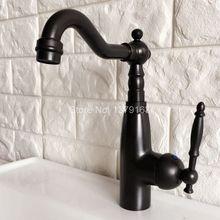 Поворотный носик водопроводной воды Масло втирают Черный Бронзовый Одной ручкой на одно отверстие Кухня раковина и Ванная комната кран бассейна смесителя anf374
