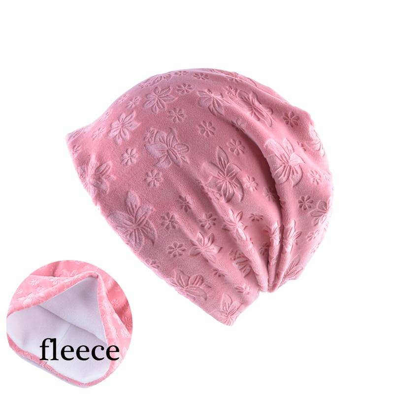 Women Fleece Inside Winter Cap Casual Slouch   Beanie   Hat Solid Color Flower Print   Skullies   Bonnet   Beanies   Gorro