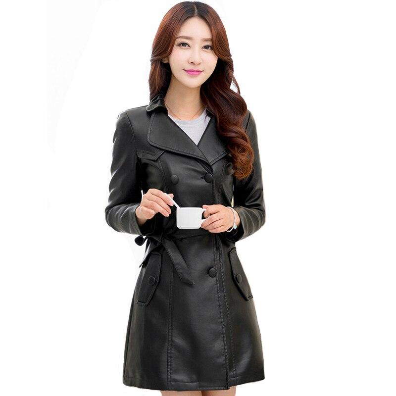 2019 Women Autumn   Leather   Jacket Elegant Slim With Belt Female Outwear Coat Office Ladies Long PU Jackets