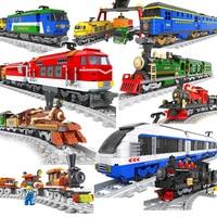 2019 Train Model Building Block Train Rails Trafic Set Blocks Educational Model Building Toys Bricks Children Gift