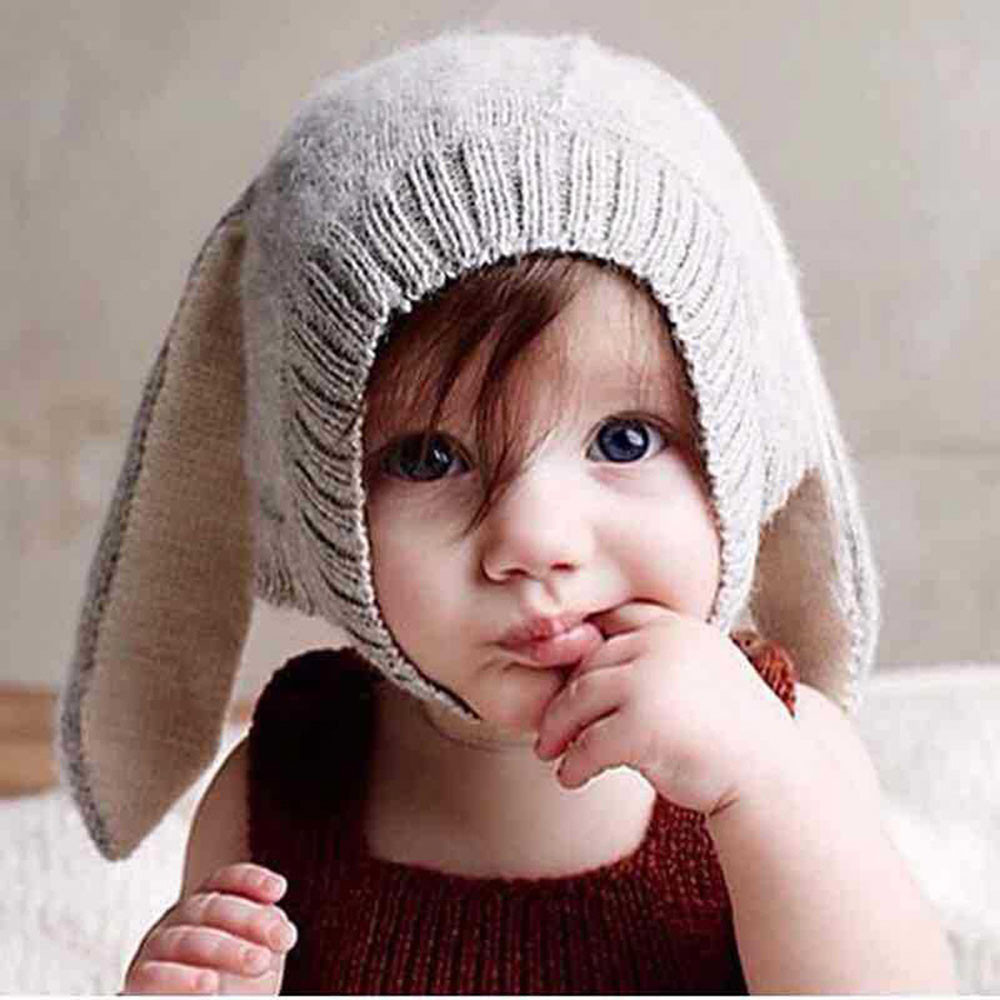 Baby Kids Boy Girl Knitted Crochet Rabbit Ear Beanie Winter Warm Hat Cap