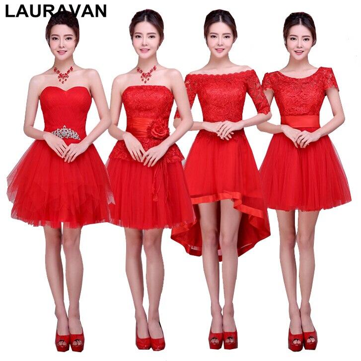 Robe de soirée courte dentelle rouge tulle filles longueur genou robe de demoiselle d'honneur robes de soirée robe de bal pour les invités de mariage livraison gratuite