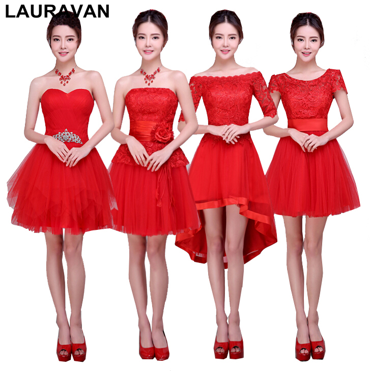 robe de soiree short red lace tulle elegant girls knee length   bridesmaid     dress   party   dresses   ball gown for wedding guests