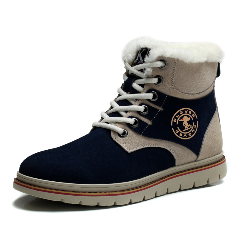 ФОТО Great Men Winter Snow Boots Fashion High Top Suede Leather Comfortable Warm Cotton-Padded Shoes With Plush Lacing Flat Heel