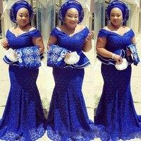 Королевский синий кружева плюс Размеры вечерние платья с открытыми плечами Южная Африка торжественное платье Длинные платье Русалка на вы