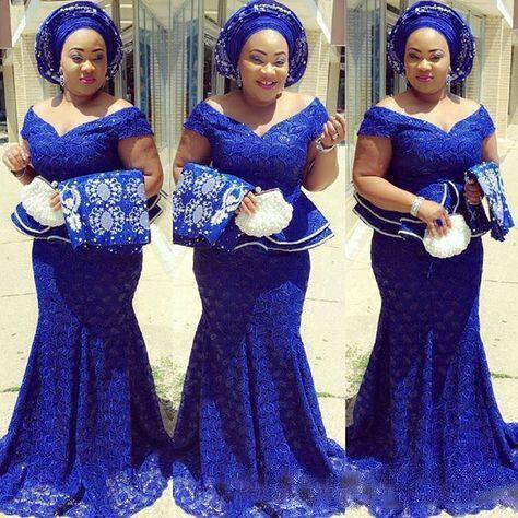 Bleu Royal dentelle grande taille robes de soirée hors de l'épaule afrique du sud robe formelle longue sirène robes de bal Aso Ebi sur mesure