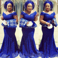 Royal Blue Lace Plus Size Evening Dresses Off The Shoulder South Africa Formal Dress Long Mermaid Prom Gowns Aso Ebi Custom Made