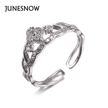 JUNESNOW 2018 Hollow Vintage Stackable Silver Love Crystal Heart Crown Engagement Stone Rings for Women Wedding