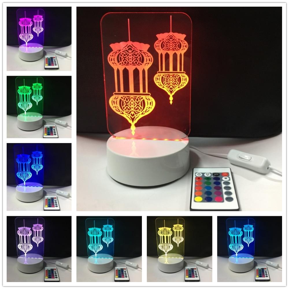 3D Acryl 7 Kleuren Veranderende Lampara Islamitische Muhammad - Feestversiering en feestartikelen