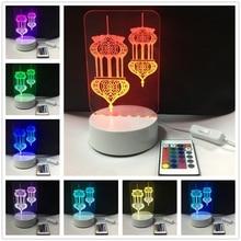 3D 아크릴 7 색 변경 Lampara 이슬람 무하마드 Nightlight 테이블 책상 램프 Usb 키즈 침대 옆 수면 조명 장식 선물