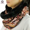 2016 novo anel grande estilo floral moda feminina inverno cachecóis lenço de pescoço em torno do pescoço Mulheres Wraps 2-usando estilos senhoras silenciador