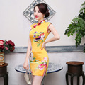 2017 Qipao Chinese Traditional Dress Yellow Cheongsams Short Sleeve Rayon Qipao Dresses Vestido Evening Dresses