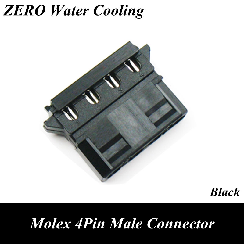 Black Molex 4Pin Power Connector With End Cap For Cable Modding black molex 4pin female power connector 5pcs free terminal pins