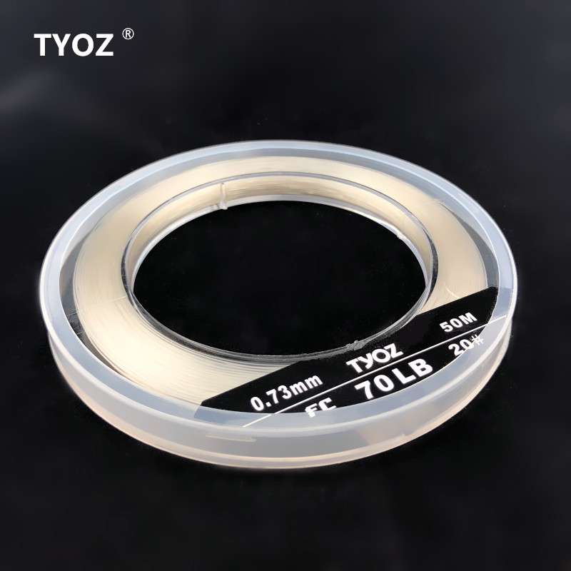 TYOZ Brand NO.20# 70LB 100% fluorocarbon fishing line Carbon Fiber Leader Line Sea Fishing Line