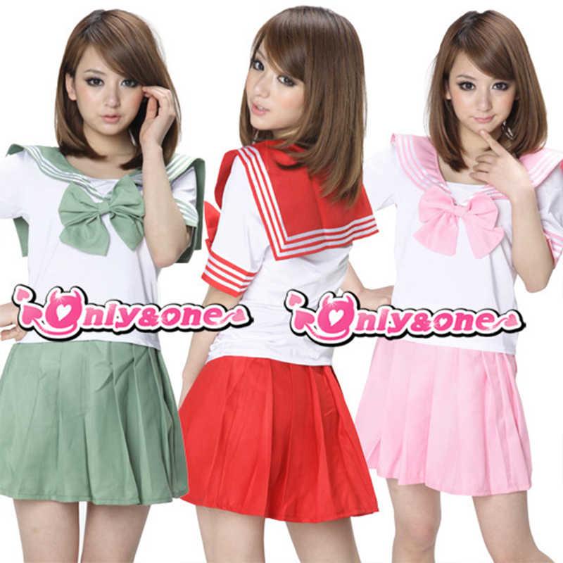 Anime Kostüm Sailor Uniform Japan Schule Mädchen Cosplay Uniformen Kurzarm T-Shirt Falten Rock Lala Cheerleader Kleidung