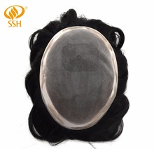SSH Remy Human Hair Fine Mono Mens Toupee Poly coating Wigs Durable Hairpieces Systems