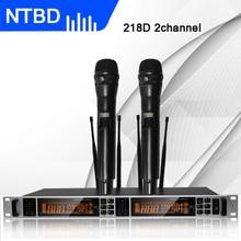 NTBD сценические школьные вечерние для дома KTV Караоке 218D УВЧ профессиональный двойной беспроводной микрофон Система динамический большой экран