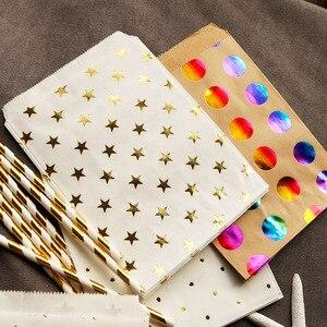 Image 4 - 25 sztuk w kolorowe kropki torby papierowe złota gwiazda cukierki torebka na przysmaki torba na prezent ślub złoty wytłaczanie na gorąco torba papierowa do pakowania prezentów