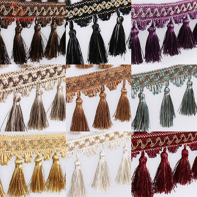 CHENGBRIGHT New 1 Meters 16CM Width Polyester Lace Tassel Flower Curtain Cloth Lace Home Decoration Accessories Textile Tassels