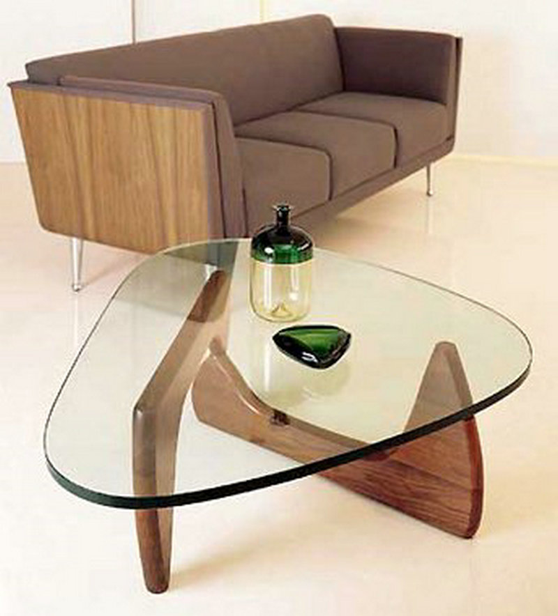 Simple Wood Triangular Wood Living Room Sofa Coffee Table