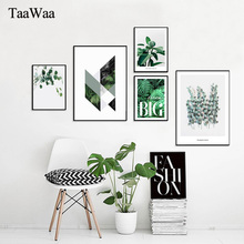 TAAWAA Nordic Style Poster Green Wall Art Canvas Print Plants Geometry Abstract Painting Picture for Living Room Home Decor