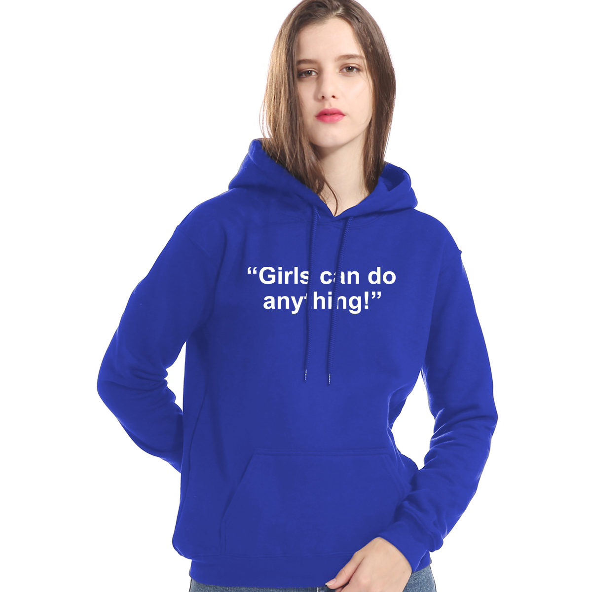 Girls Can Do Anthing Letter Print Casual Sweatshirt For Women Hoodie 2019 Autumn Winter Brand Clothes Hoody Kpop Women's Hoodies