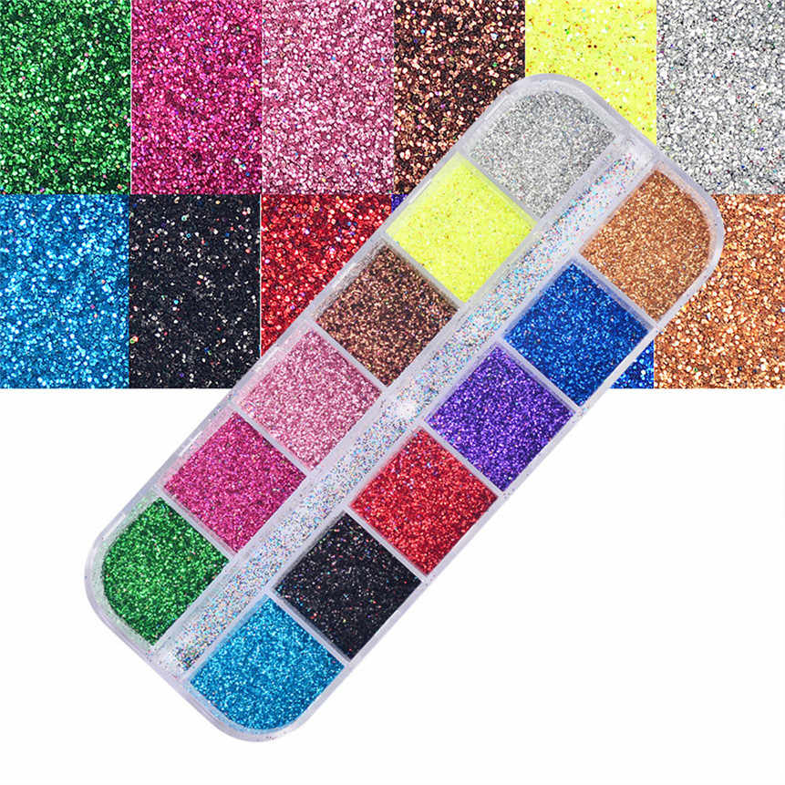 Kuku Seni Glitter Bubuk DIY Kuku Seni 12 Warna Set Flash Laser Bubuk Kuku Dekorasi Set 80511