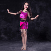 Sexy Belly Dance Costume Children Top Skirt Mesh Cover Girls Stage Performance Set Bollywood Carnival Dance
