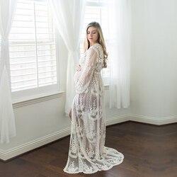Verão boho maternidade rendas vestido longo fotografia maternidade vestidos para sessão de fotos vestido de gravidez fotografia vestido cardigan