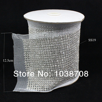 Rhinestone mesh 24row 5yard/lot shiny crystal strass stone trim ss19 4.7mm cup base sew on rhinestones for clothing