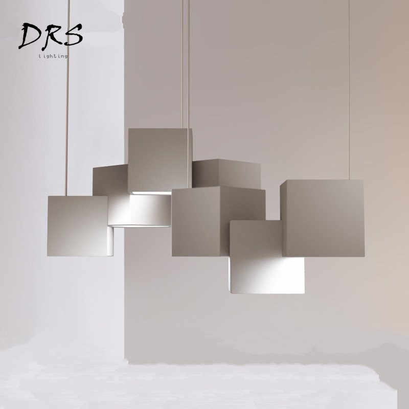 Minimalist Magic Cube Chandelier Living Room Iron Lustre Pendente Lamp Nordic Modern Bedroom Study Room Bar Lighting Lamparas