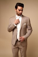 2017 Latest Coat Pant Designs Champagne Formal Dapper Custom Made Four Button Wedding Suit For Men