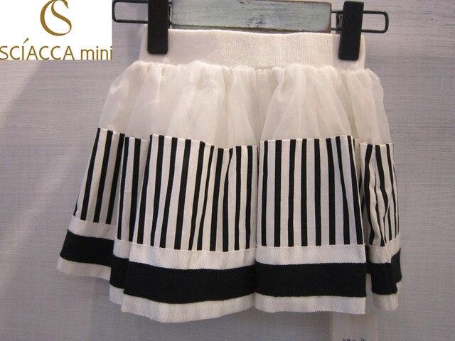 Sciaccamini 2016 New arrival 100% cotton stripes knee-length inner shorts summer black&white skirt  girl 1 2 3 4 years