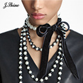JShine Black Velvet Choker Necklace Elegant Wedding Party Prom Imitation Pearl Jewelry Handmade Decaration Necklace Women Bijoux