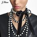 JShine Black Velvet Choker Necklace Elegant Wedding Party Prom Imitation Pearl Jewelry Handmade Decaration Necklace Women Bijoux