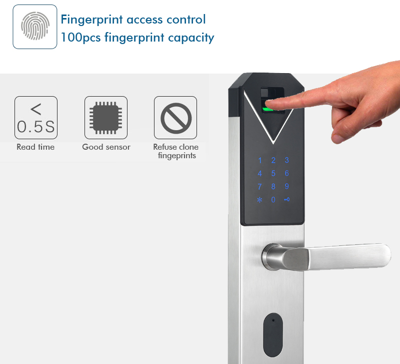 CYPATLIC JCF3325B Sliver Color Stainless Steel Fingerprint Lock Porta Safe Electronic Lock With English Audio Guide - 6