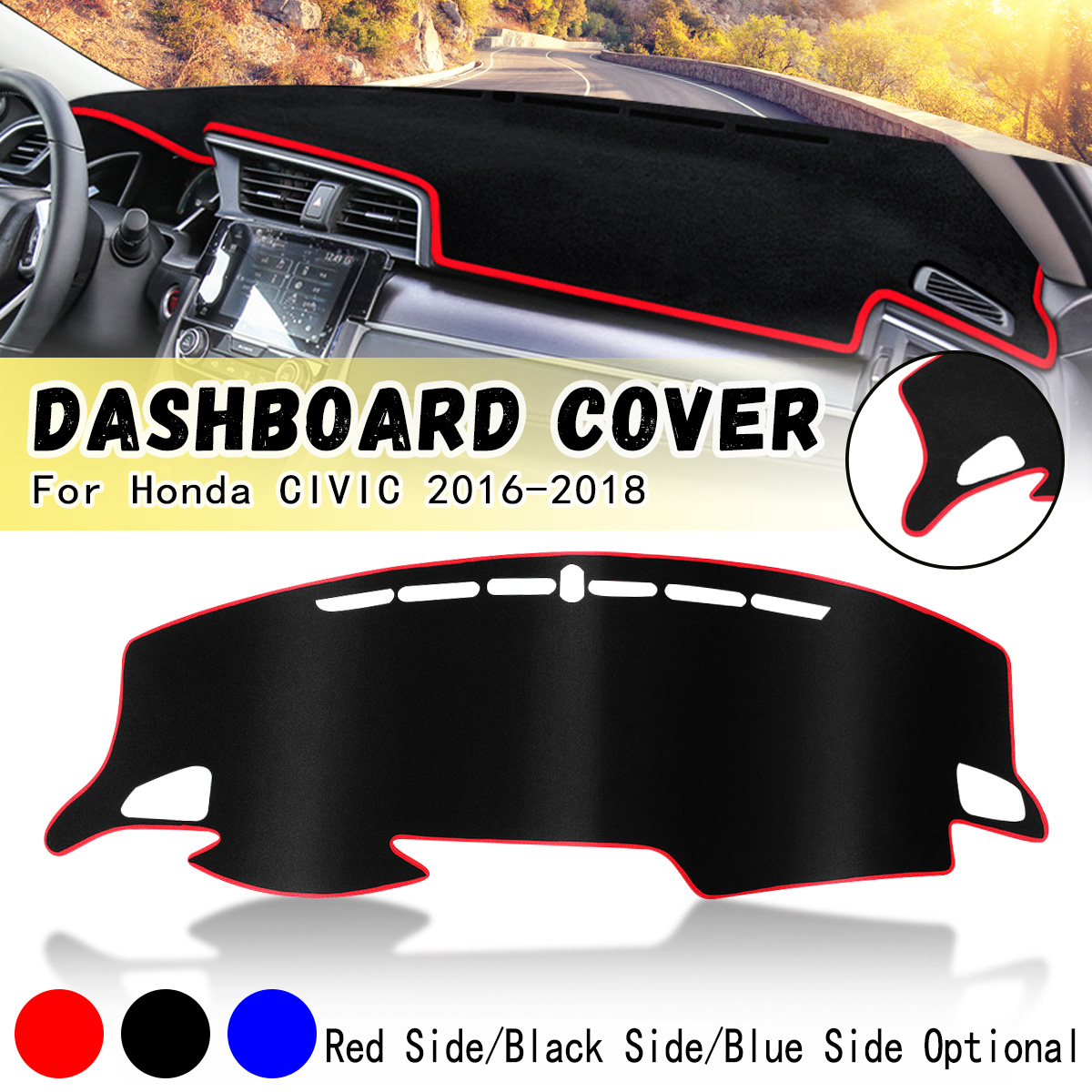 Left Hand Drive Car Dashboard Cover Dash Mat Pad Sun Shade Carpet Cover For Honda/CIVIC 2016 2017 2018 for peugeot 3008 5008 2016 2017 2018 2019 leather dashmat dashboard cover car pad dash mat sunshade carpet cover car