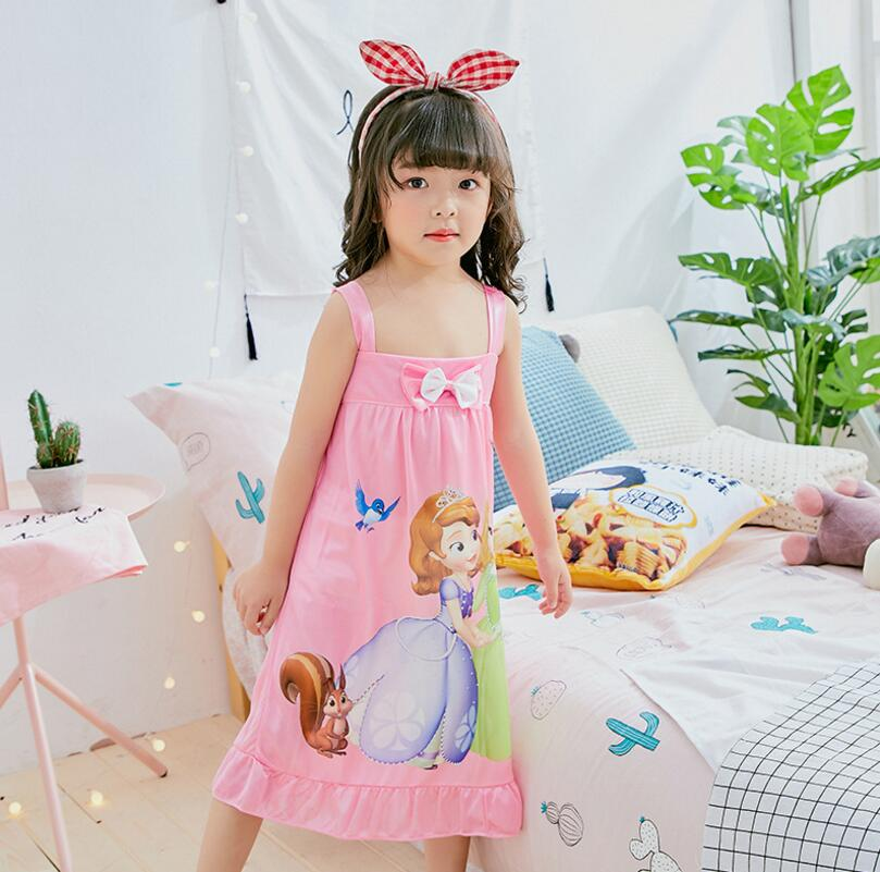 2-12Y Girls Nightgown children clothing Knitting cotton short sleeved pajamas dress Cute kids Homewear Nightdress Clothes BE28