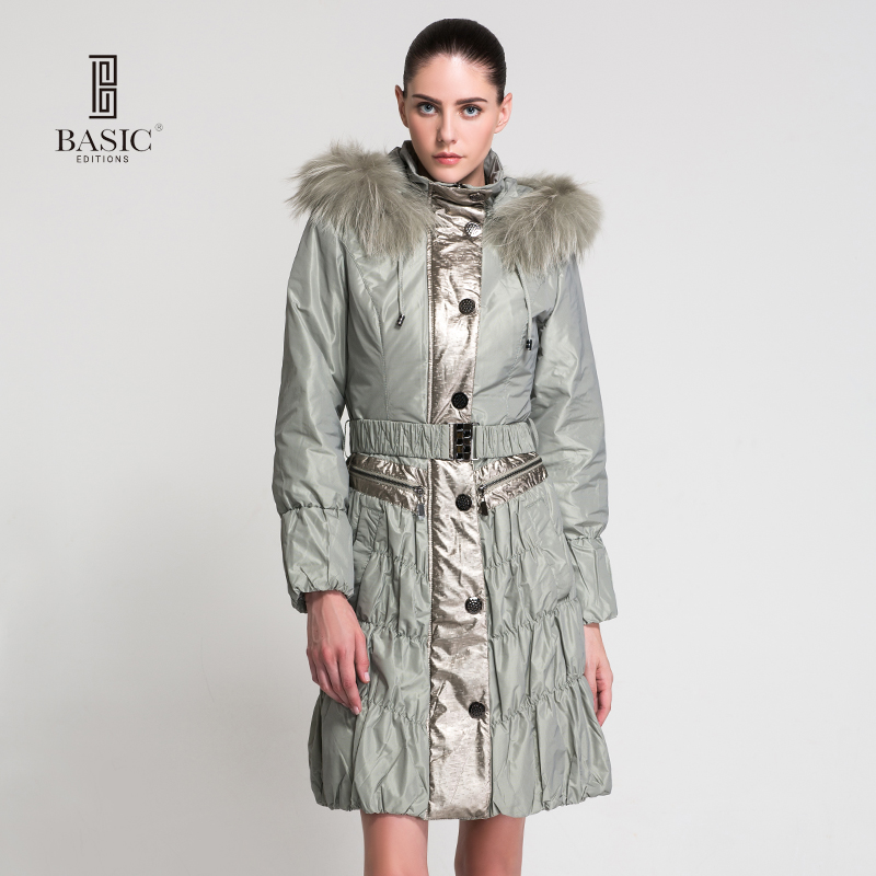BASIC EDITIONS Winter Women Clothing Female Coat Hooded Raccoon Fur Collar Long Cotton Jacket - 10W-18 2017 winter new clothes to overcome the coat of women in the long reed rabbit hair fur fur coat fox raccoon fur collar