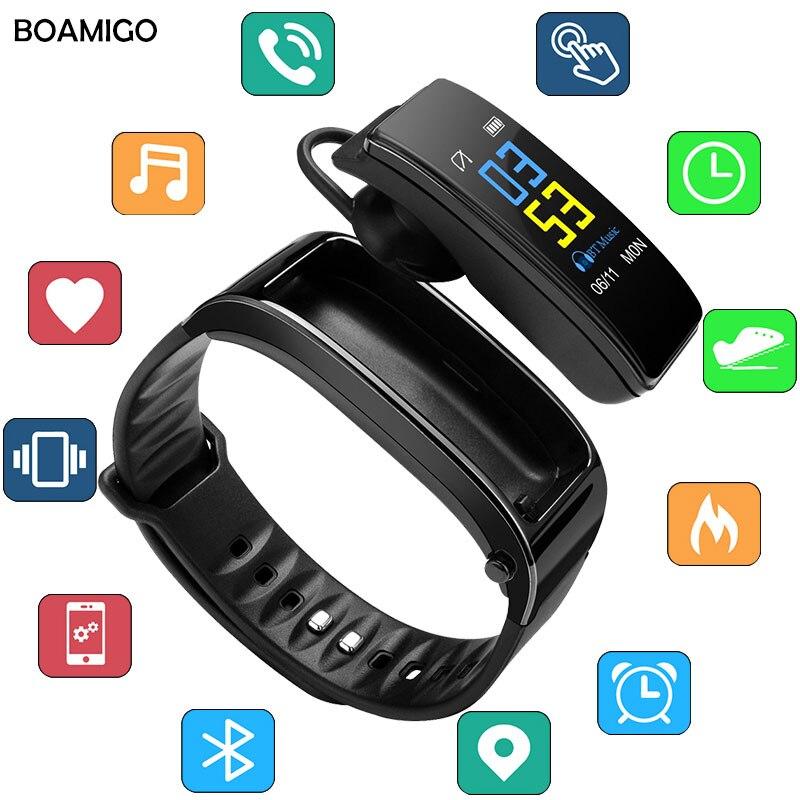 Orologi Smart BOAMIGO di Marca Wristband Del Braccialetto Colloquio di Fascia Orologi Messaggio di Promemoria Pedometro Calorie Bluetooth Per IOS Android