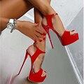 CALIENTE Nueva Moda Peep Toe Sandalias de tacón alto Sexy Sandalias de Punta Abierta 16 CM zapatos de Tacón Alto Vestido de Partido de Las Mujeres zapatos