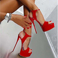 HOT New  Fashion Peep Toe  High-heeled Sandals Sexy Open Toe 16CM High Heels Sandals Party Dress Women Shoes